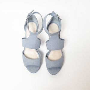 BAR III Sophie Wedge Misty Blue Sandals Size 6.5
